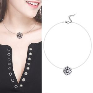 Jewelry - Floating Diamond Crystal Invisible Line Necklace